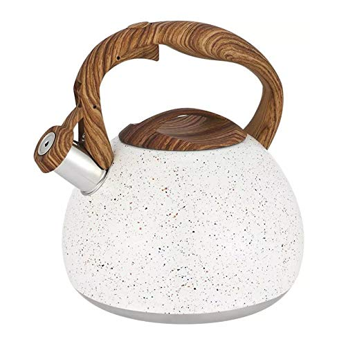 Stainless Steel Whistling Tea Kettle Stovetops Enamel Food Grade Tea Pot With Heat-Proof Handle For Gas Induction Cookers (Color : White)