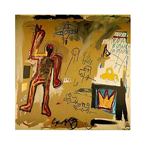 《Hombre rojo》 Jean-Michel Basquiat Cuadro en Lienzo| Lienzos Decorativos | Cuadros Decoración Dormitorios | Cuadros Decoración Salón (55x55cm (22x22inch), Sin marco)