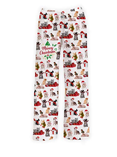 Meowy Christmas Lounge Pants Sleep Bottoms | Loungewear and Sleepwear - Unisex Adult Kitty Cat Print (S-XXL) (Medium)