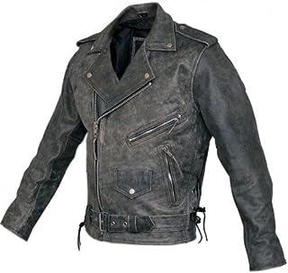 Bikers Gear Australia Men's Classic Brando Motorcycle Leather Jacket Distressed Brown