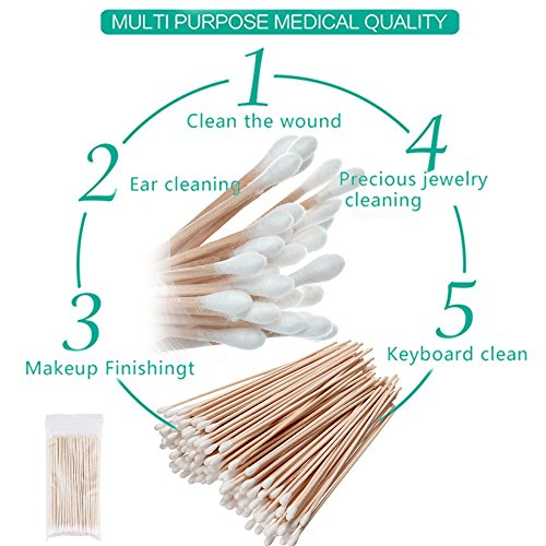 500PCS Cotton Tips Swabs For Cotton Pads & Rounds, Wooden Long Makeup Eraser Stick,Sterile Baby Nail & Ear Face Cream Ball Cleaner, Maintaining Electronics To Cleaning Jewelry For Medicine, Beauty