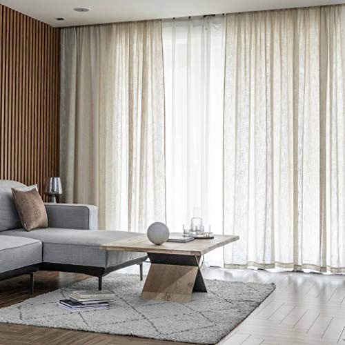 Home Brilliant Linen Sheer Curtain Linen Curtains for Living Room Filtering Sunlight Semitransparent Panels for Bedroom Window Trearment Curtain, Set of 2, 54 x 45 Inch, Beige