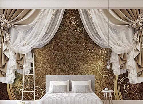 ZZXIAO Papel pintado vintage de encaje de cortina marrón Papel pintado no tejido Mural de efecto 3D pared Decoración Fotomural sala Pared Pintado Papel tapiz no tejido-300cm×210cm