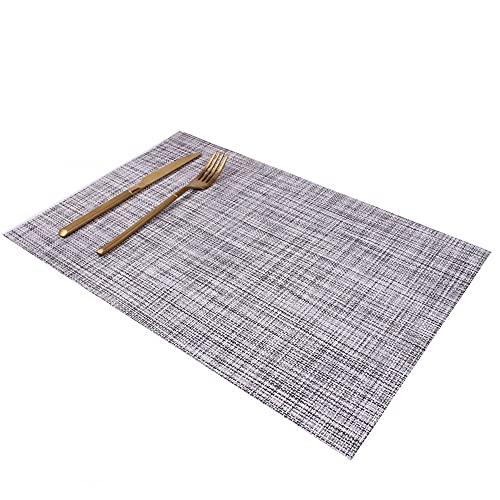 Manteles individuales,Hotel de estilo japonés Mantel individual de estilo occidental, almohadilla de aislamiento térmico gruesa de lino de estilo europeo, 4 piezas, gris ahumado