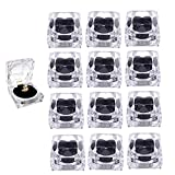 Elepure 12 pcs Clear Crystal Ring Gift Boxes, Earrings Jewelry Storage Box Acrylic Display Organizer Case for All Kinds of Ring Earrings Velvet Insert Black