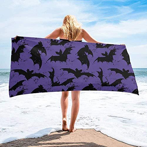 Toalla de Playa de Secado rápido Personalizada de Halloween Bat púrpura, Toallas de Mano Grandes de Gran tamaño absorbentes y Ligeras para baño, Hotel, Gimnasio, SPA, Piscina, natación (27 'x55,