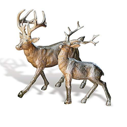 Loberon Hirsche 2er Set Rudy & Son, Weihnachtsdeko, Polyresin, Silber