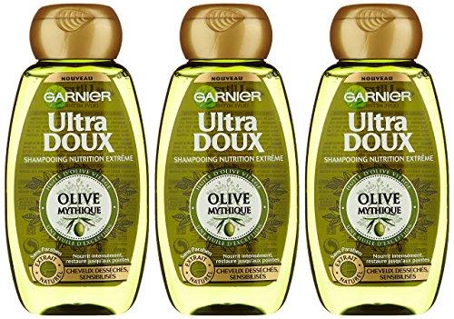 Garnier Ultra Doux Olive Mythique - Shampooing Cheveux Desséchés - Lot de 3