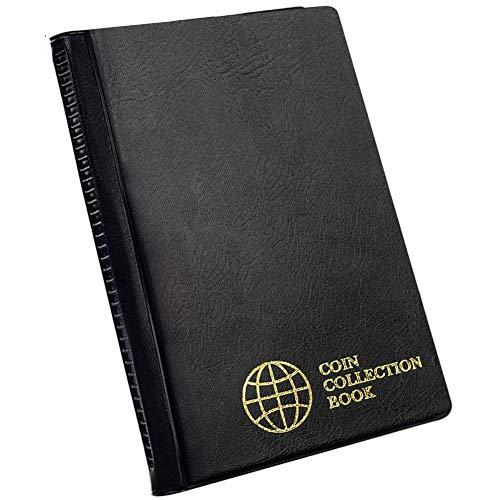 Album raccolta monete 60 tasche - 4,5x4,5 cm / 1,8x1,8 pollici Portamonete Libro Porta monete Album Soldi Penny Pocket per collezionisti Nero CS0106BK