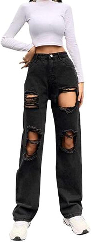 NSQFKALL Women's All Season Fashion High Waist Full Length Distressed Wide Leg Pants Chic