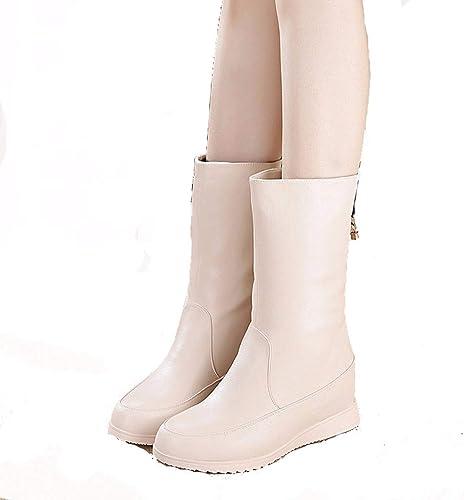 HBDLH Chaussures pour Femmes des Bottes Hautes à Fond Plat Moyenne Tube sur des Bottes des Chaussures d'hiver Snowflush Bottes.