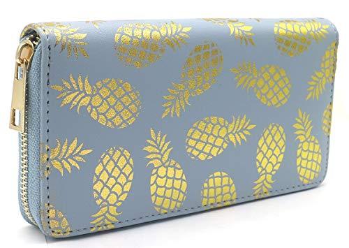 Dielay Portefeuille pour femme avec fermeture éclair Motif ananas 19 x 10 cm