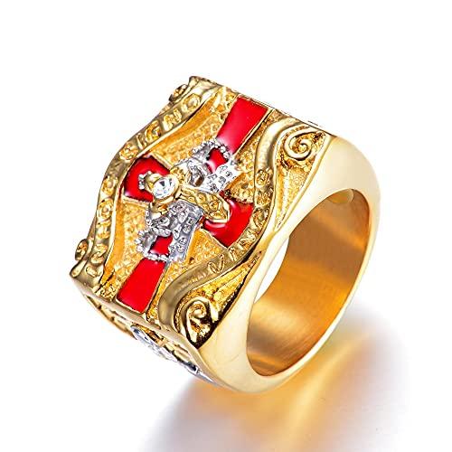 Anillo de Cruz Roja cruzada de Metal pesado para hombres y niños, anillo de caballero templario de acero inoxidable de Color dorado / plateado para hombre, joyería de moda Hip Hop11Silver