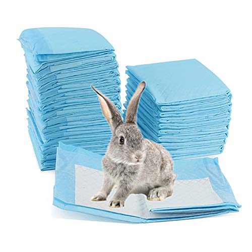 PINVNBY Rabbits Pee Pads Pet Potty Training Pads Puppy Disposable Super Absorbent Pee Pads for Guinea Pigs,Hamsters, Chinchillas, Cats and Other Small Animals(50 PCS Blue)