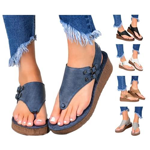 Sandals for Womens Casual Summer Split Toe Shoes Wedge Sandals Fashion Beach Sandals Comfy Flops Shoes Blue