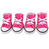 Glumes Cute Puppy Pet Dog Sporty Shoes Lace up Blue/Pink Canvas Dog Boots Nonslip Dog Booties Sneaker Teacup Chihuahua Yorkie, 4 Pcs in One Pack.