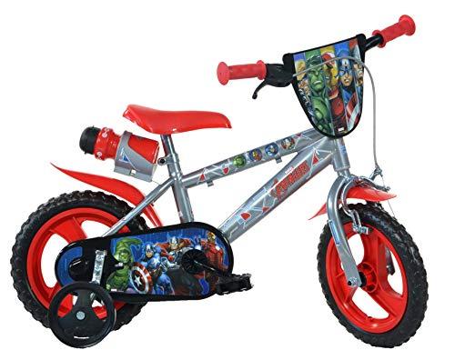 Dino Avengers Kinderfahrrad Marvel Jungenfahrrad 12 Zoll, Kinderrad mit Stützrädern und Trinkflasche