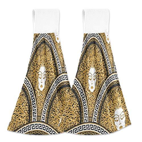 Toallas de cocina para colgar 2 piezas, diseño de escamas de peces griegos para colgar bucles suaves de terciopelo coral súper absorbentes para sala de estar