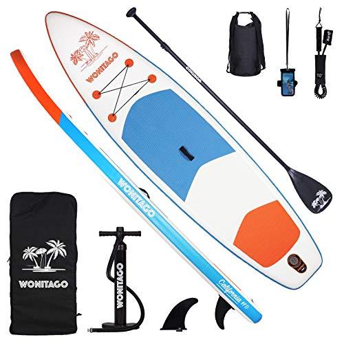 XUXIAKE Stand Up Paddle Board SUP - Tabla de surf de remo hinchable (335 x 84 x 15 cm), paquete de viaje ISUP, remo ajustable y bomba de mano, bote de pie antideslizante con cubierta, color blanco
