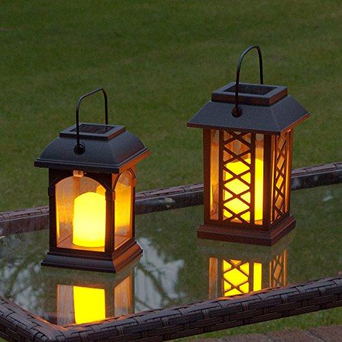 2 Lanternes Solaires avec Bougie LED Effet Vacillant (Piles Rechargeables Incluses) Waterproof