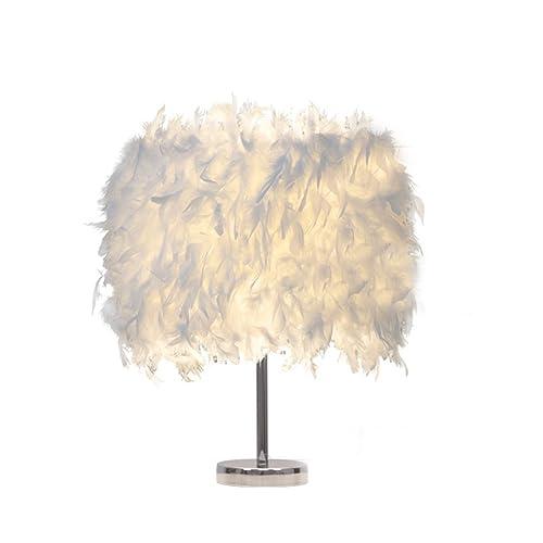 Lámpara de mesa blanca de la pluma, lámpara de mesita de noche moderna, lámpara