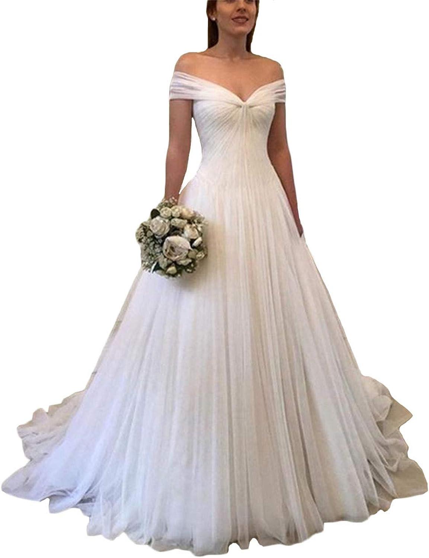 Tsbridal Elegant Tulle Off Shoulder Wedding Dresses V Neck Plus Size Beach Bridal Gowns