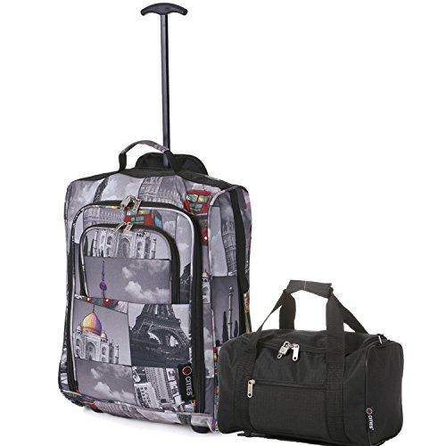 Ryanair Handgepäck Kabinentrolley 55x40x20 & 35x20x20 Tasche Kofferset - Machen Sie beide! (Städte/schwarz)