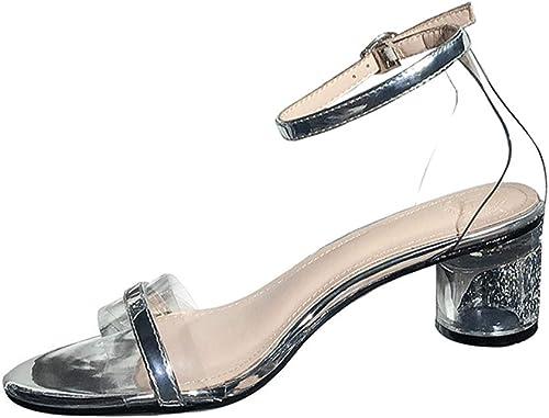LFEWOX Sandales pour femmes, chaussures romaines bout ouvert transparentes cheville avec bride cheville talons hauts bloquant la fête à bout ouvert chaussures à plateforme sexy et larges