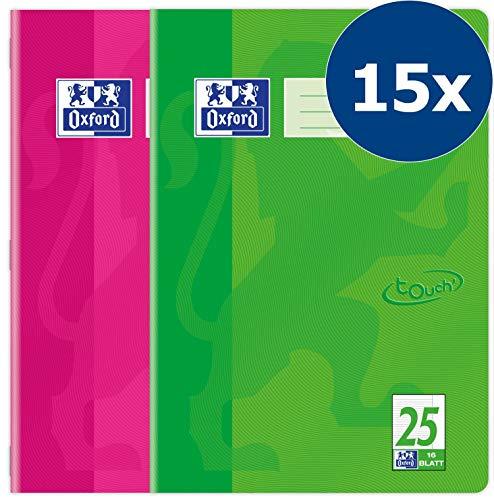 Oxford 400086469 Schulheft Touch 15er Pack A4 16 Blatt liniert mit Rand pink & grasgrün
