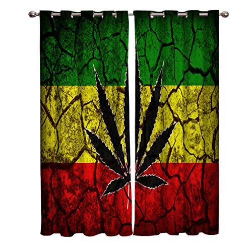 Edwiinsa Retro Style Kitchen Blackout Curtains Window Drapes Treatment, 2 Panels Set for Kitchen Cafe Office, Rasta Flag Pattern with Marijuana Leaf on Crack Soil Texture, 55W x 39L inch