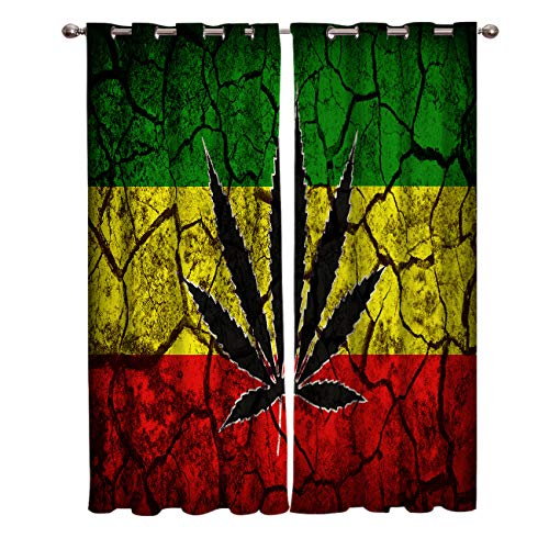 Edwiinsa Retro Style Kitchen Blackout Curtains Window Drapes Treatment, 2 Panels Set for Kitchen Cafe Office, Rasta Flag Pattern with Marijuana Leaf on Crack Soil Texture, 55W x 39L inch