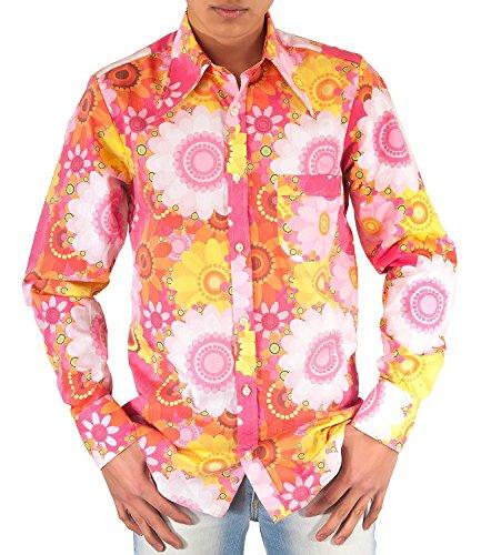 Comycom Buntes 70er Jahre Blumen Flower Power Hemd pink 4XL