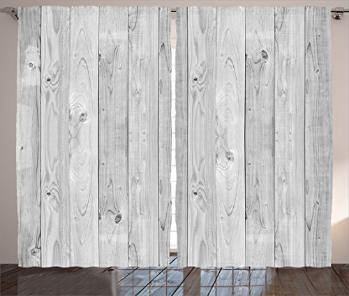 Ambesonne Grey Curtains, Picture of Smooth Oak Wood Texture in Old Fashion Retro Style Horizontal Nature Design Home, Living Room Bedroom Window Drapes 2 Panel Set, 108
