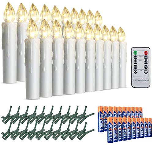 [20 Pcs] STARKER Battery Candles Lights, Bright Warm White Battery Tea Light Candles Flameless LED Lights, Electric Fake Candle for Christmas Tree with Remote Control Timer, Batteries Included