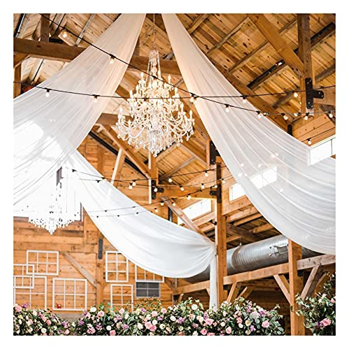 Wedding Chiffon Ceiling Drapes 2 Panels 5ftx10ft White Long Arch Draping Fabric Sheer Swag Drapes for Indoor Ceremony Party Stage Decoration