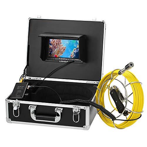 """Lixada Ecoscandaglio da Pesca 30M Fotocamera di Ispezione delle Fognature di Scarico 7"""" da Monitor LCD 12 Visioni Notturne di LED IP68 Fotocamera Impermeabile a Prova di Endoscopio (30M 2)"""