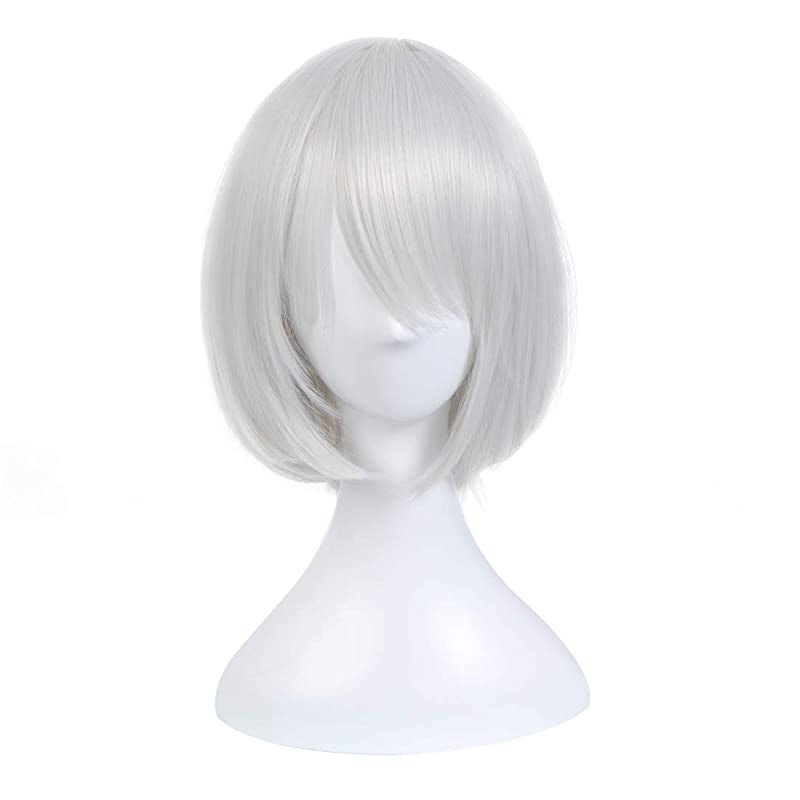 Koloeplf シルバーホワイトボボヘッドウィッグアニメフェイスショートヘアコスプレウィッグNieR:オートマトン (Color : Silver white)