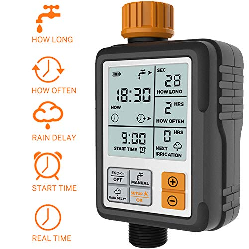 "Kazeila Water Timer Digital Programmable Garden Lawn Tap Computer Hose Faucet Sprinkler Timer Irrigation System Controller/Child Lock Mode/Auto&Manual Mode/Rain Delay/3""Large Screen/IP65 Waterproof"