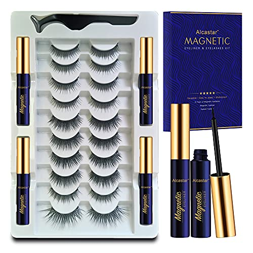 Magnetic Eyelash Kit Natural Look -10 Pairs Reusable Magnetic Lashes with Applicator - Upgraded 4 Tubes of Magnetic Liner ,Waterproof, Long Lasting, Easy to Apply.