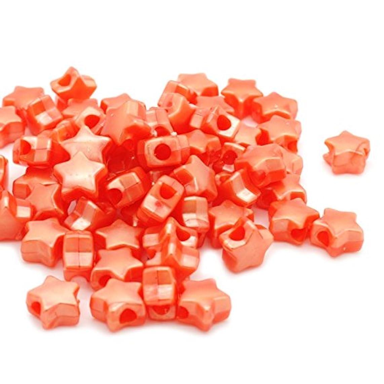 Beads Unlimited Bath Pearl Orange Plastic Star Pony 13mm, 13 mm