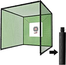 YUNIC Sport Steel Metal Golf Cage (10ft x 10ft x 10ft) with Hitting Nets and Targets Training Aids Chipping Practice Cage for Backyard Driving Range for Outdoor Sports (Golf Cage Set w/Mat)