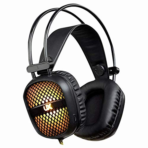MGWA Gaming Headset. Über Ohr-Kopfhörer Computer-Kopfhörer USB-On Ear E-Sport-Spiel-Kopfhörer Mit Mikrofon 50mm Treiber Leichte Wired Kopfhörer Computer-Kopfhörer Bass (Color : Black)