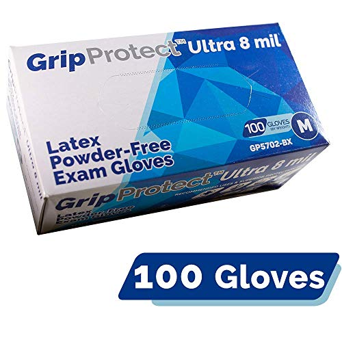 GripProtect Ultra 8 Mil Latex Exam Gloves, Disposable, Textured, Medical, Automotive, Janitorial, Home, EMS, Hospital, Law-Enforcement (1000/Cs) (Large (1000 Count))