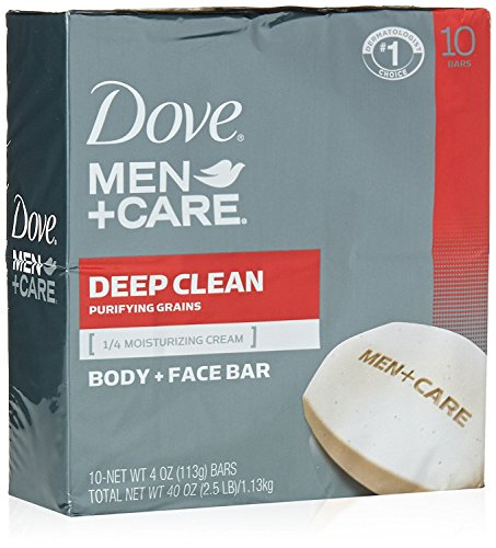 Dove Men + Care Deep Clean Body and Face Bar, 4 Ounce, 10 Count by Unilever