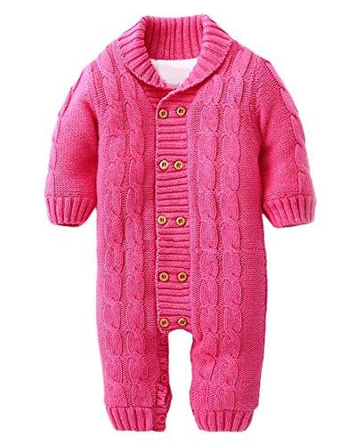 Minetom Bebé Recién Nacido Mameluco Otoño Invierno Grueso Suéteres Ropa Una Pieza Peleles Pijamas De Punto Niños Niñas Monos Rosa Rojo 5-6 Meses (68)