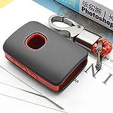 ontto Klapp Autoschlüssel Hülle Abdeckung für Mazda 3 Alexa 2019 2020 3 Taste Kunststoff und Silikon Schlüsselhülle Schlüsselanhänger Keyless Go Schlüsselbox Schlüsselschutz-Schwarz rot
