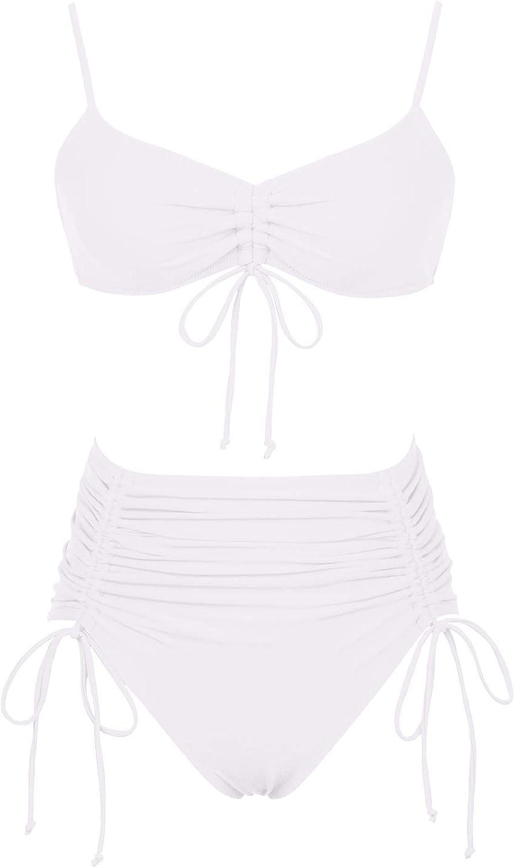 Meyeeka Women's Sexy Swimsuits Ruched High Waisted Two Piece Bathing Suit Bikini Set