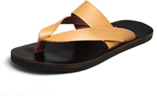Men's New Fashion Slippers Light Soft Bottom Solid Color Breathable Leather Sandals Casual Beach Shoes Black Yellow White Zgywmz