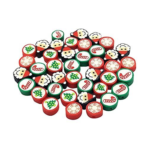 Surakey Perle di Polimerica Argilla, 100 Pezzi 10mm Perline di Argilla Polimerica A Tema Halloween/Natale, Perline di Argilla Fatte A Mano per Il Fai da Te per Collana di Bracciali Orecchini Gioielli