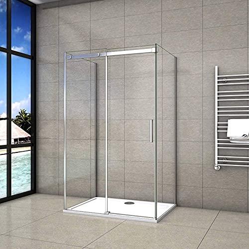 Cabine de douche 100x90x90x195cm forme en U porte de douche coulissante et 2 parois en 8mm verre anticalcaire